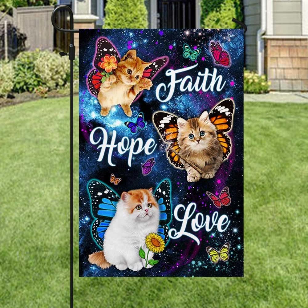 Cat Butterfly Faith Hope Love Flag 1