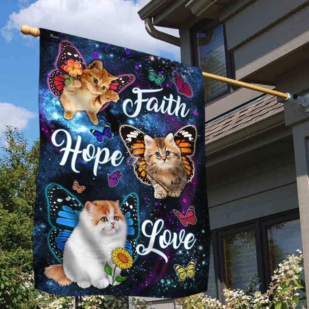 Cat Butterfly Faith Hope Love Flag 2