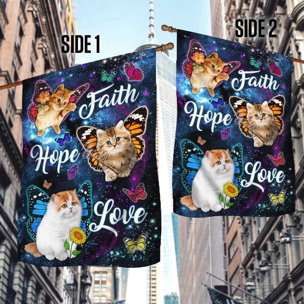 Cat Butterfly Faith Hope Love Flag 3