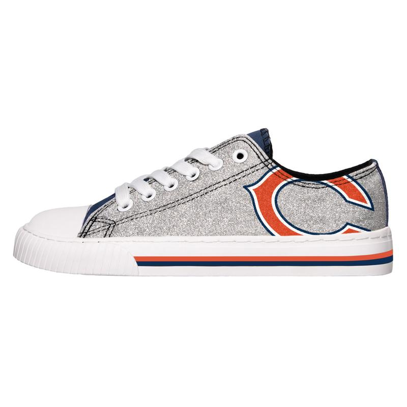 Chicago bears NFL glitter canvas shoes 1