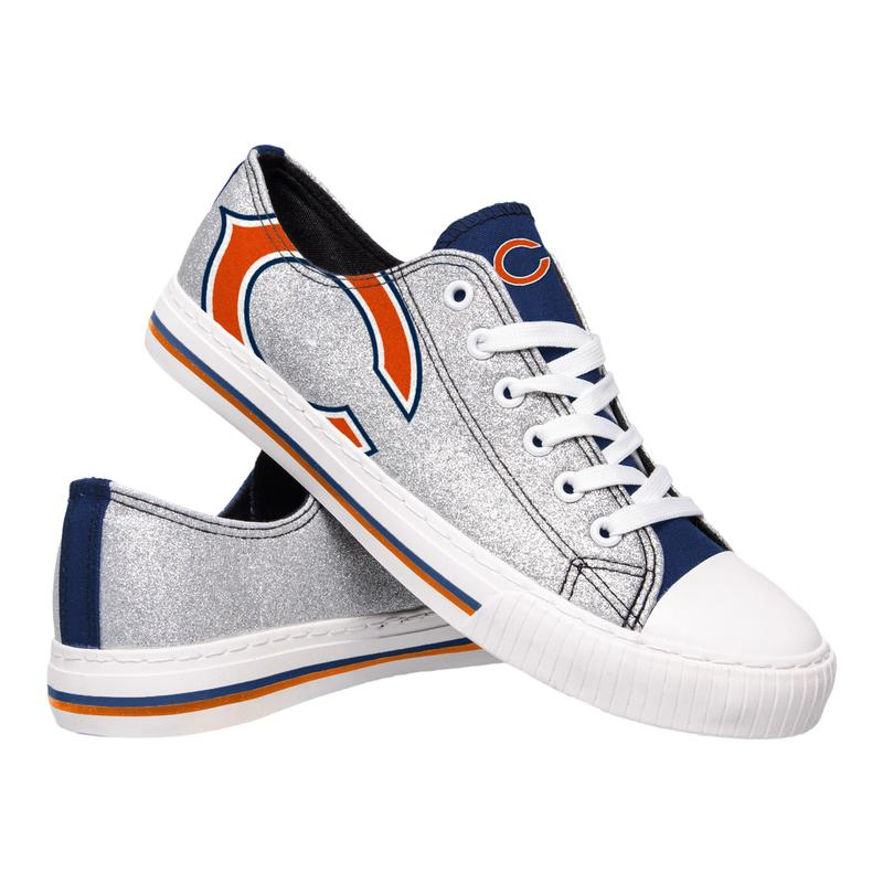 Chicago bears NFL glitter canvas shoes