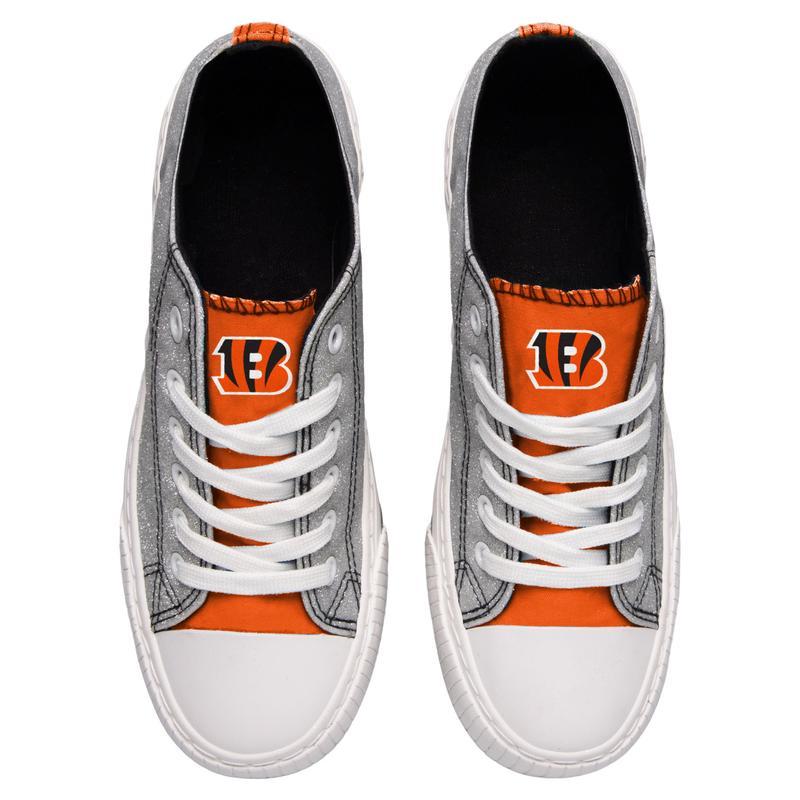 Cincinnati bengals NFL glitter low top canvas shoes 2