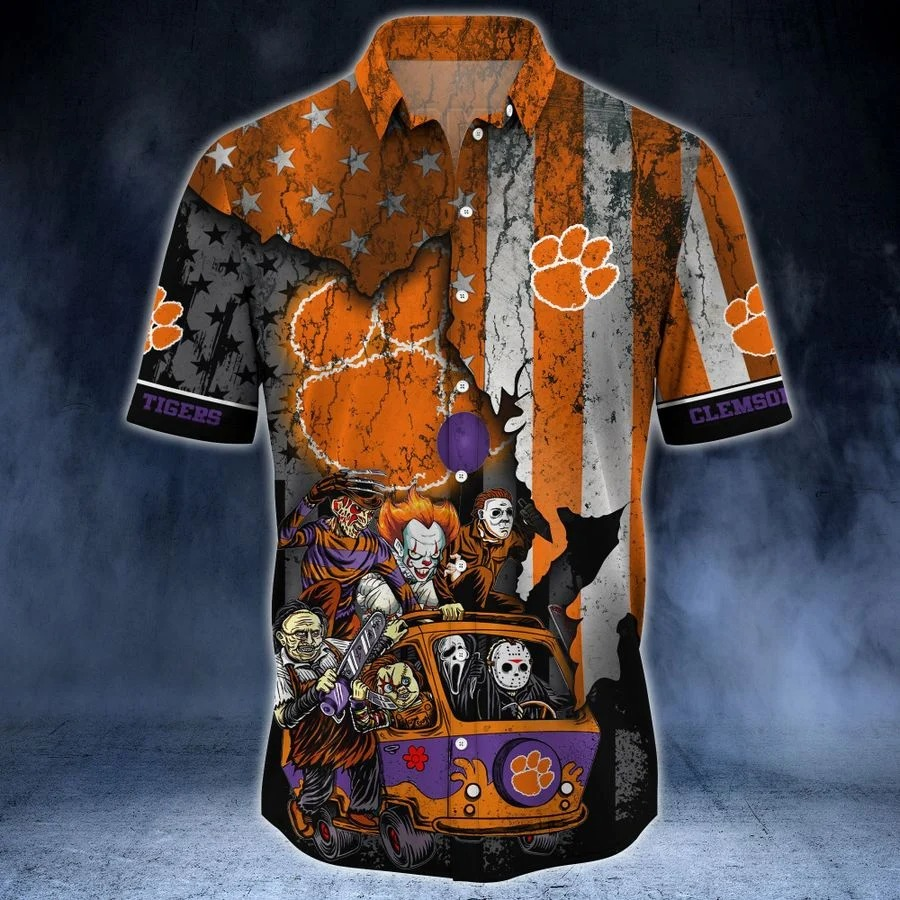 Clemson Tigers NCAA horror movies hawaiian shirt 2