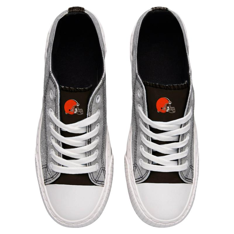 Cleveland browns NFL glitter low top canvas shoes 2