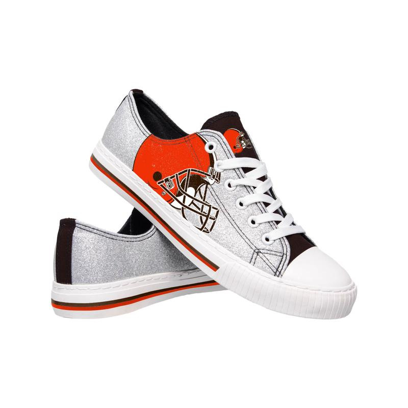 Cleveland browns NFL glitter low top canvas shoes