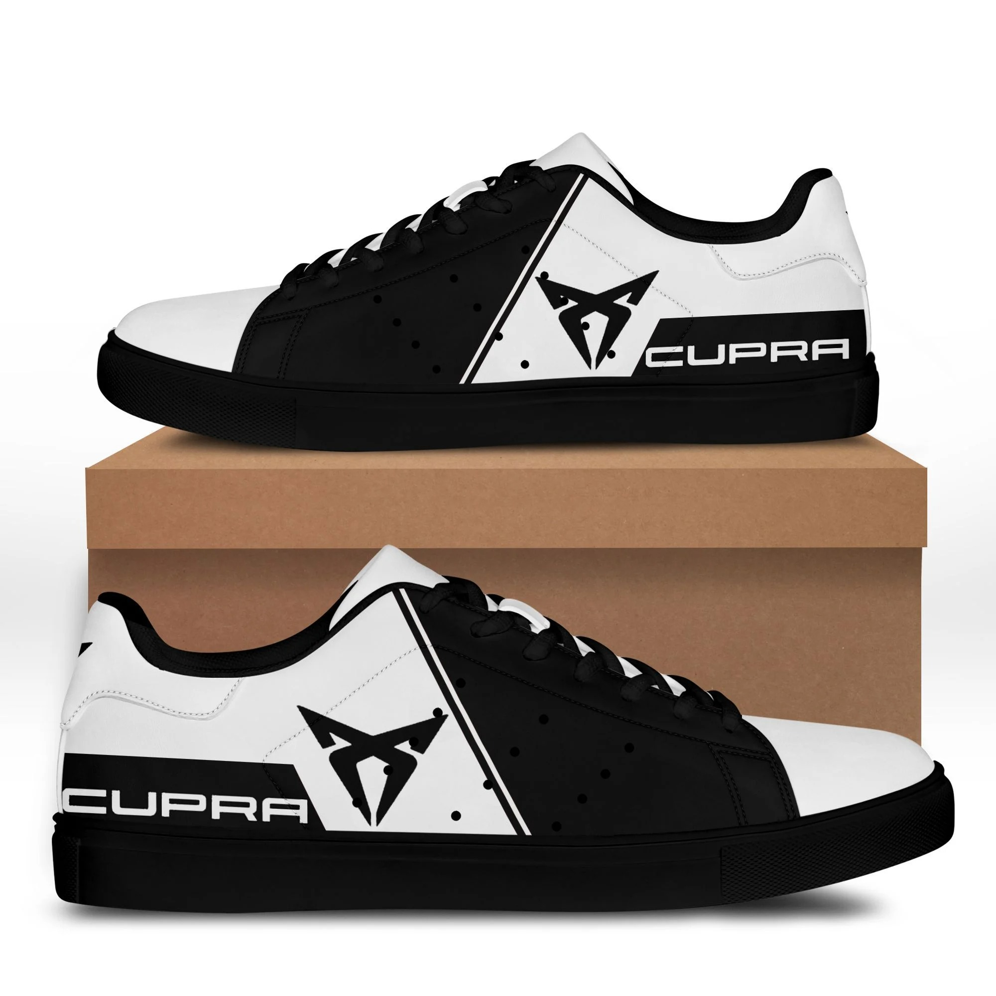 Cupra black and white stan smith low top shoes 3