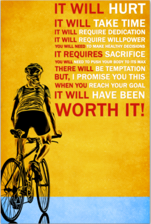 Cycling it will hurt it will take time poster