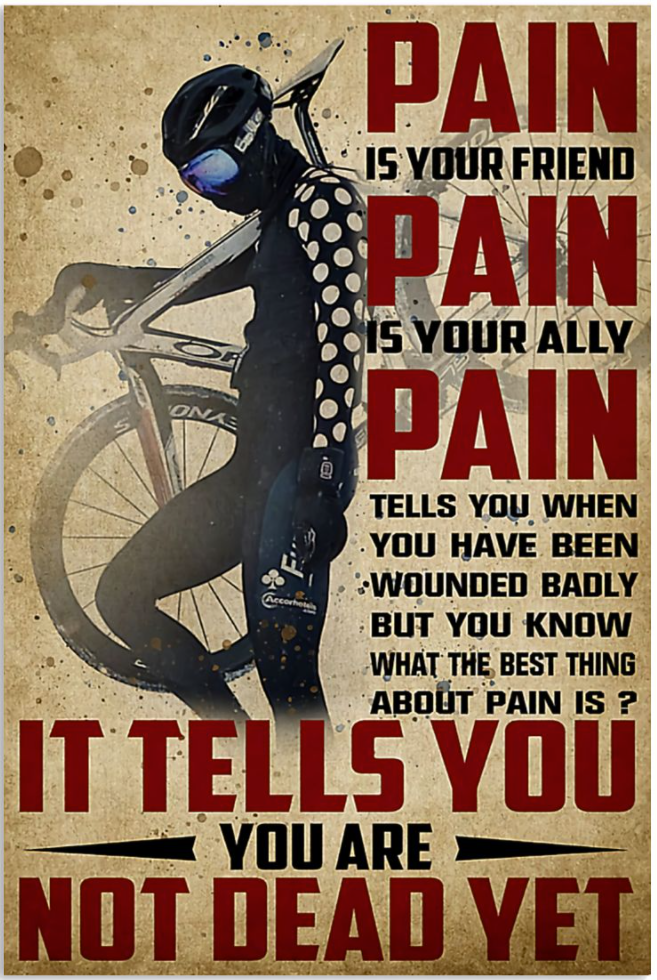 Cycling pain is your friend pain is your ally poster