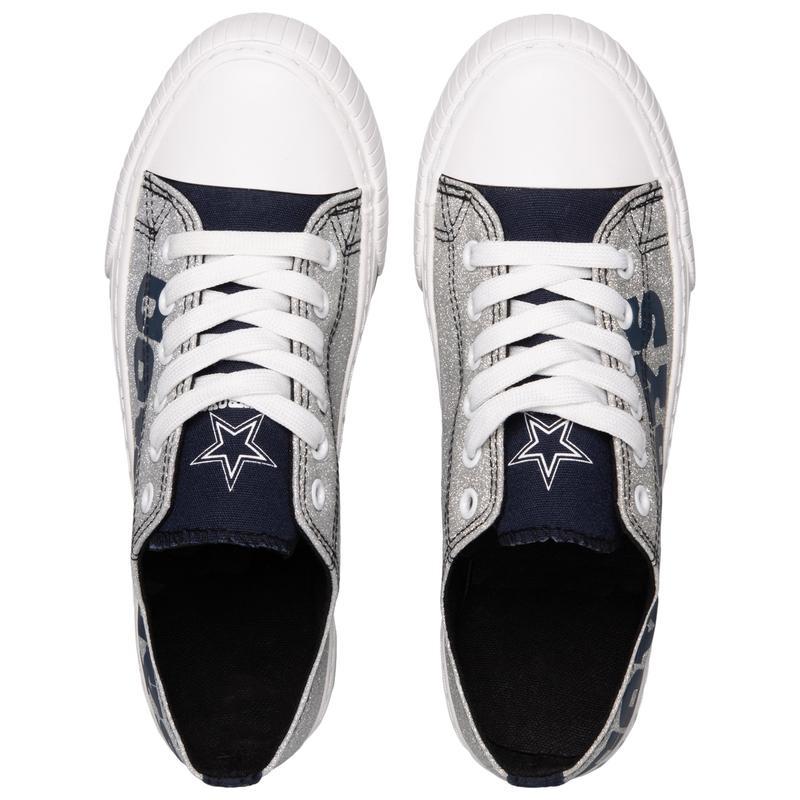 Dallas cowboys NFl glitter low top canvas shoes 2