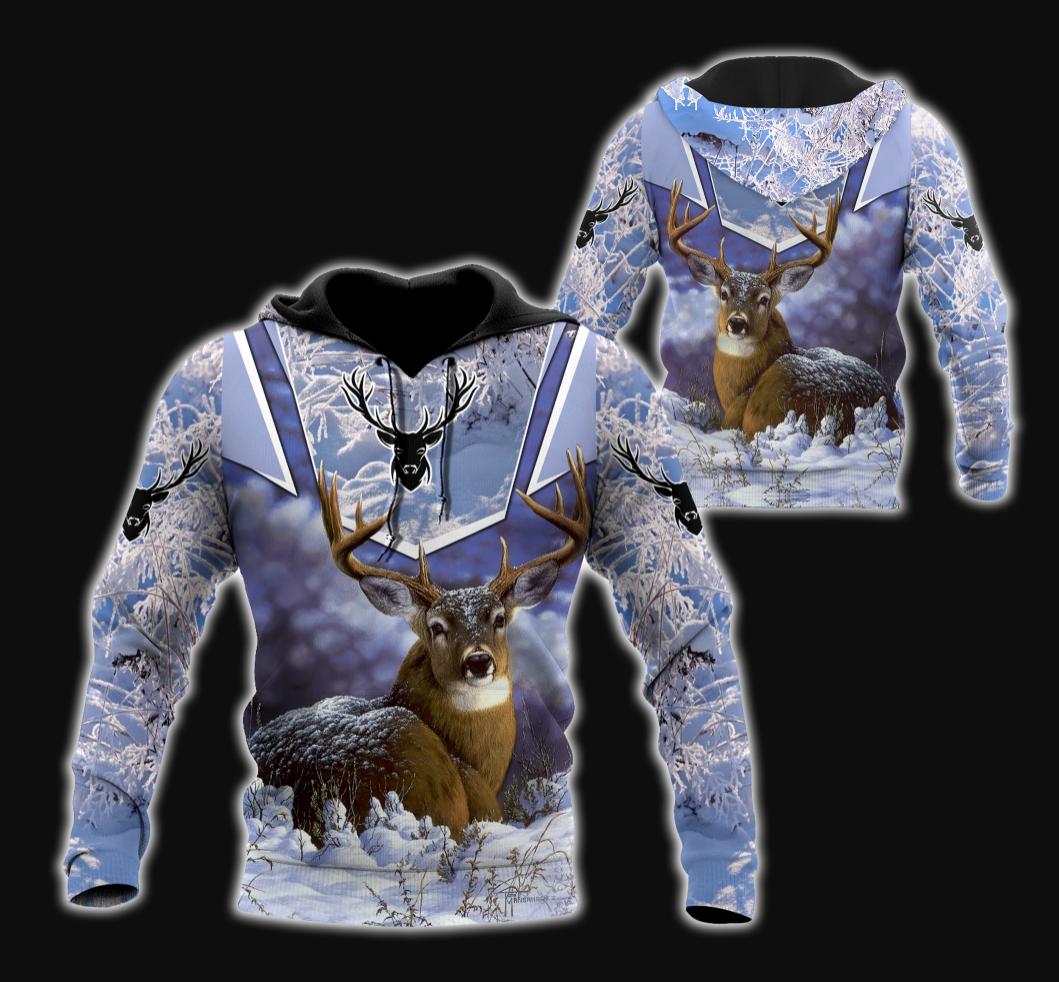 Deer winter all over printed 3D hoodie