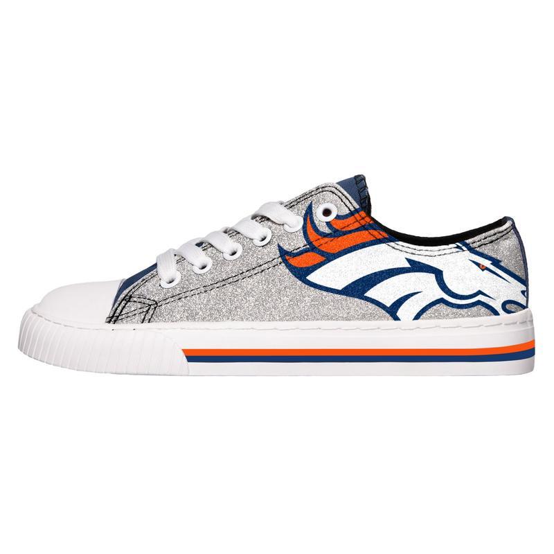 Denver broncos NFL glitter low top canvas shoes 1