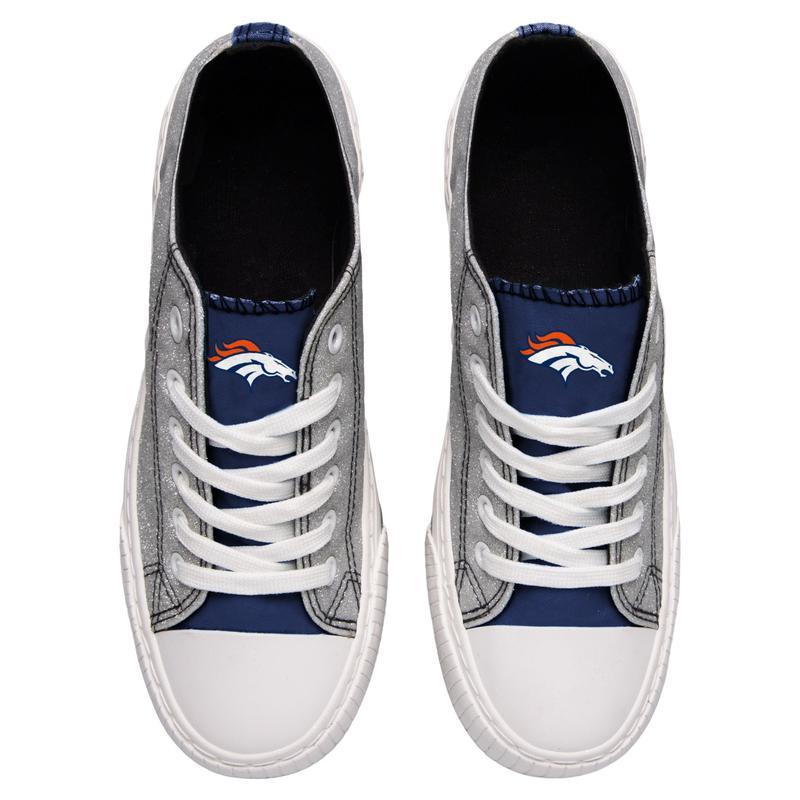 Denver broncos NFL glitter low top canvas shoes 2