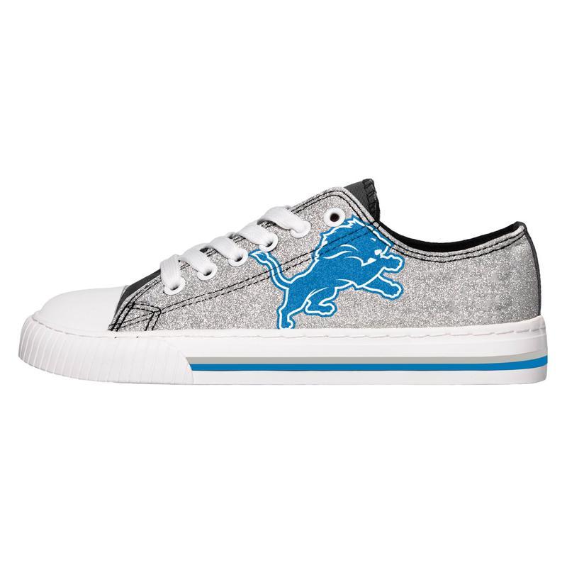 Detroit lions NFL glitter low top canvas shoes 1