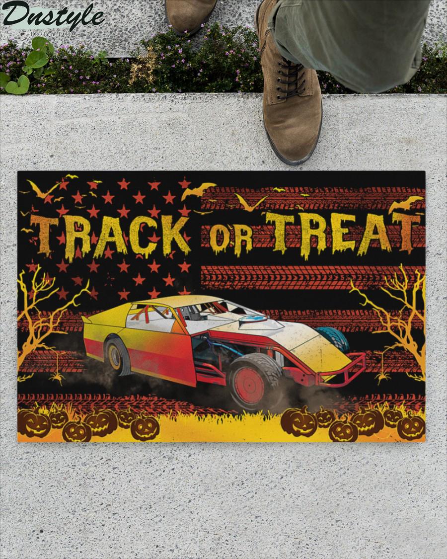 Dirt Track Racing Halloween Gift Track or Treat Doormat 1