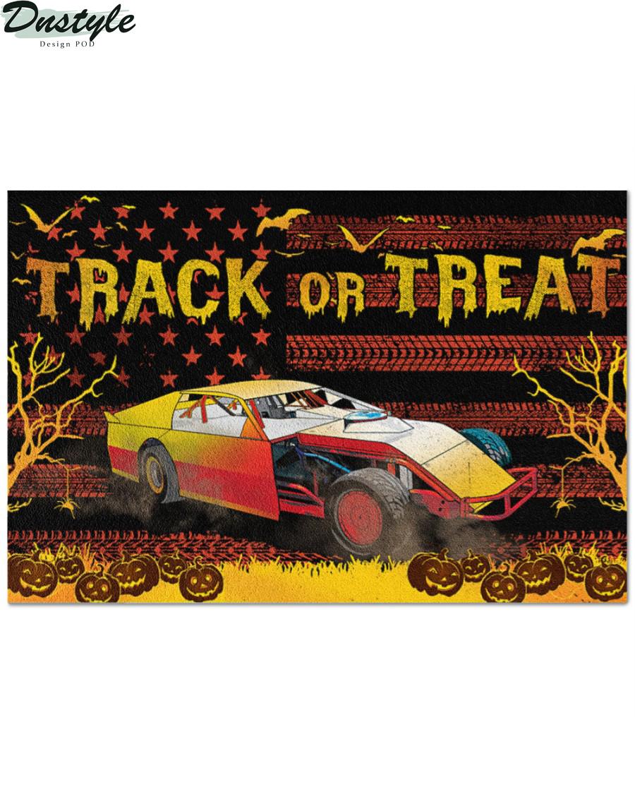 Dirt Track Racing Halloween Gift Track or Treat Doormat