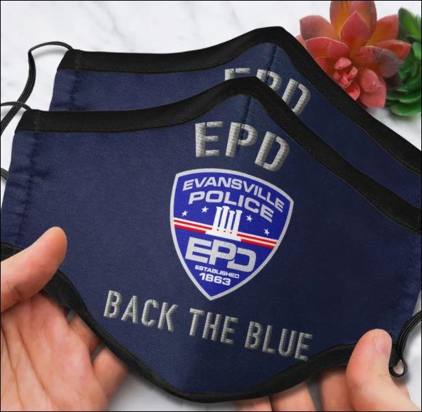 Evansville Police Department back the blue face mask