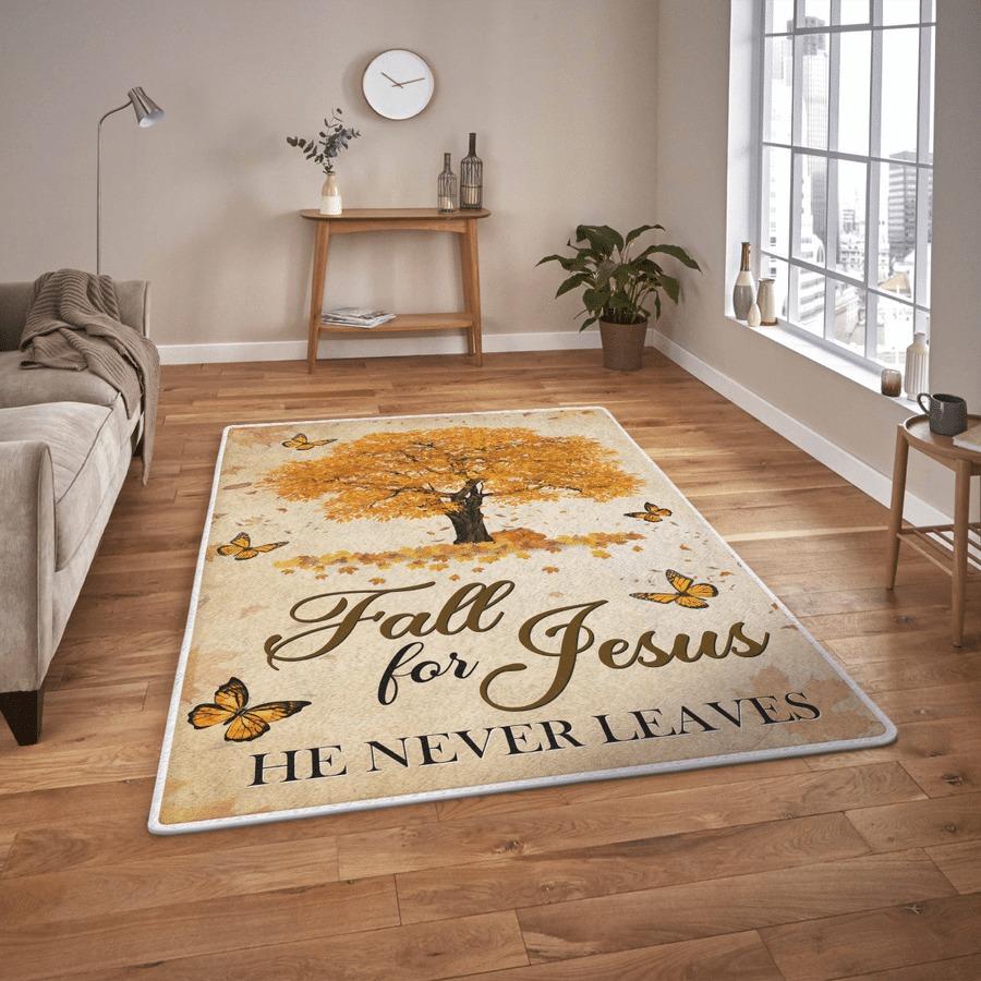 Fall for jesus he never leaves rug 1