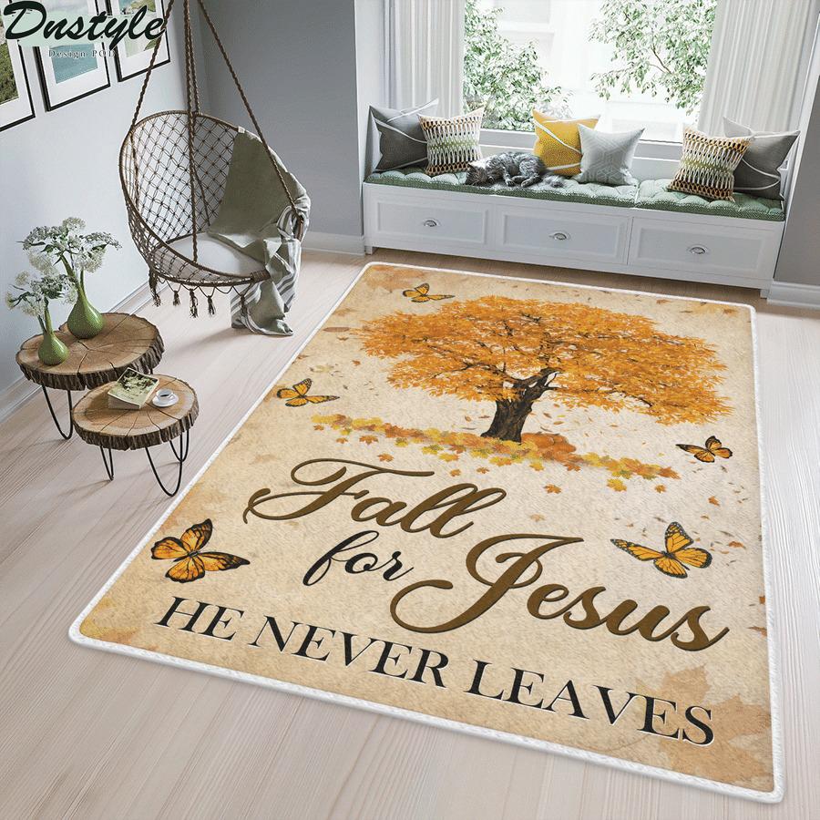 Fall for jesus he never leaves rug