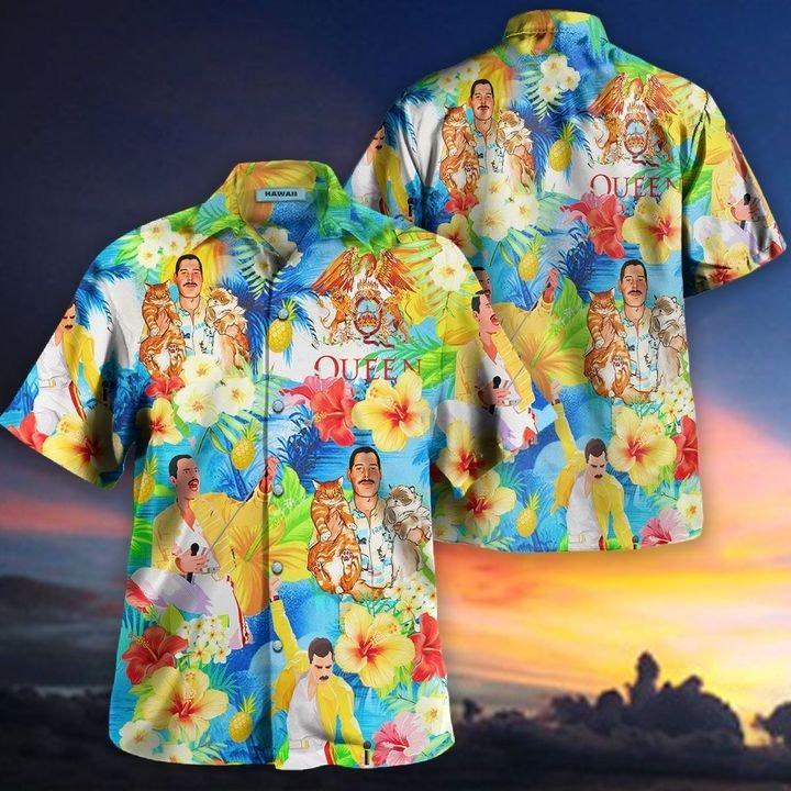 Freddie mercury hawaii cats hawaiian shirt 2