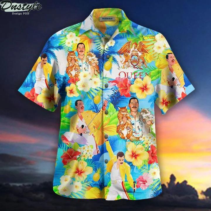 Freddie mercury hawaii cats hawaiian shirt