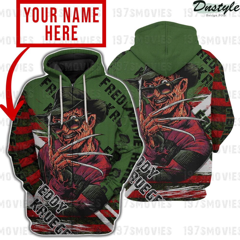 Freddy krueger a nightmare on elm street 3d printed custom name zip hoodie