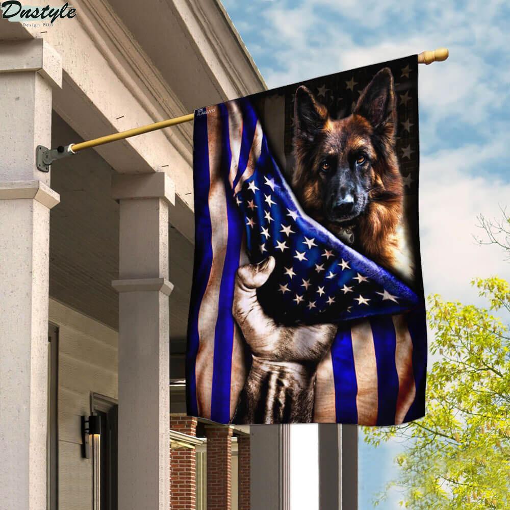 German shepherd police dog the thin blue line flag