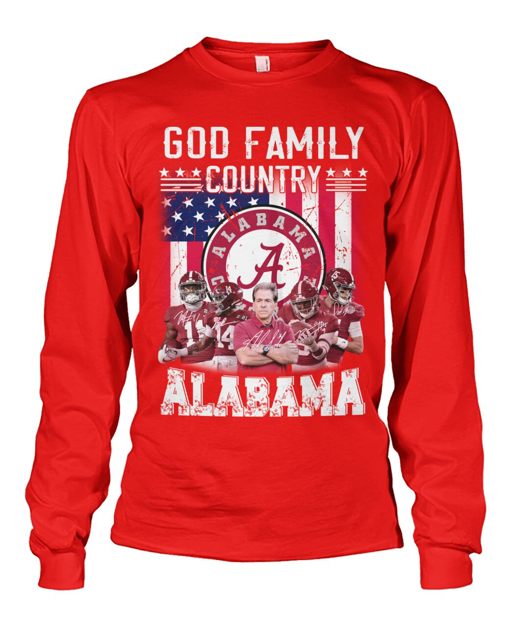 God family country Alabama crimson tide american flag long sleeve