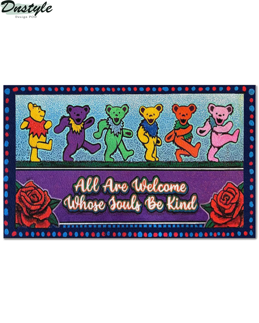 Grateful dead bears all are welcome whose souls be kind doormat 1
