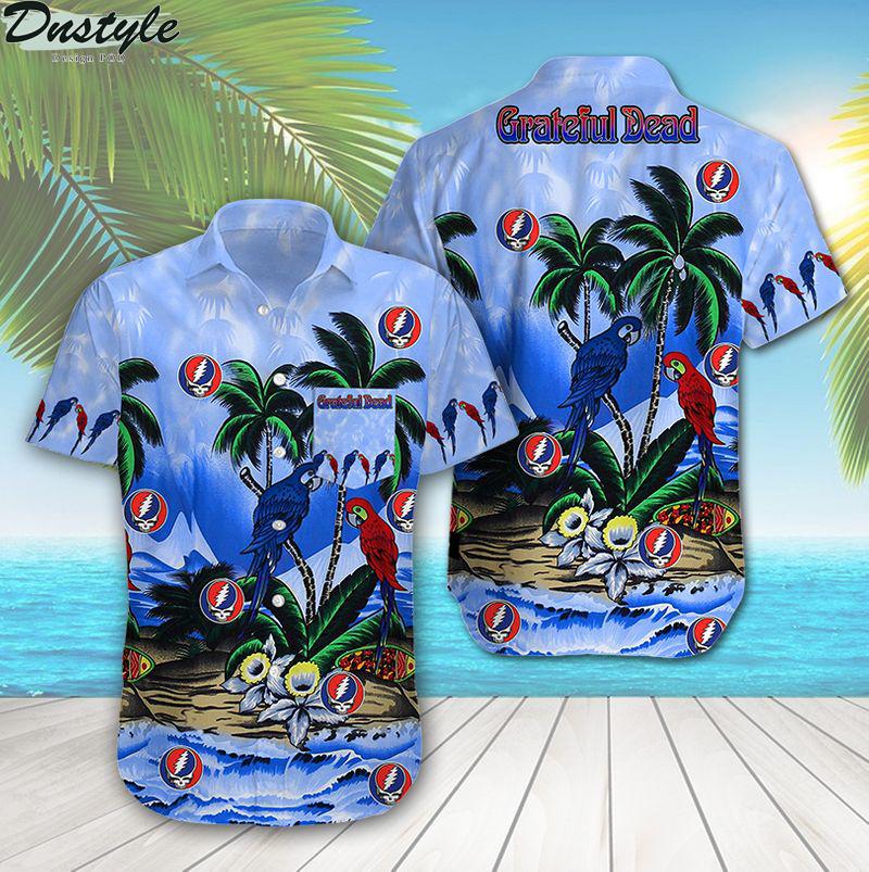 Grateful dead tropical parrot summer beach hawaiian shirt