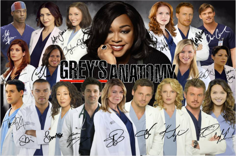 Grey's Anatomy character signatures poster