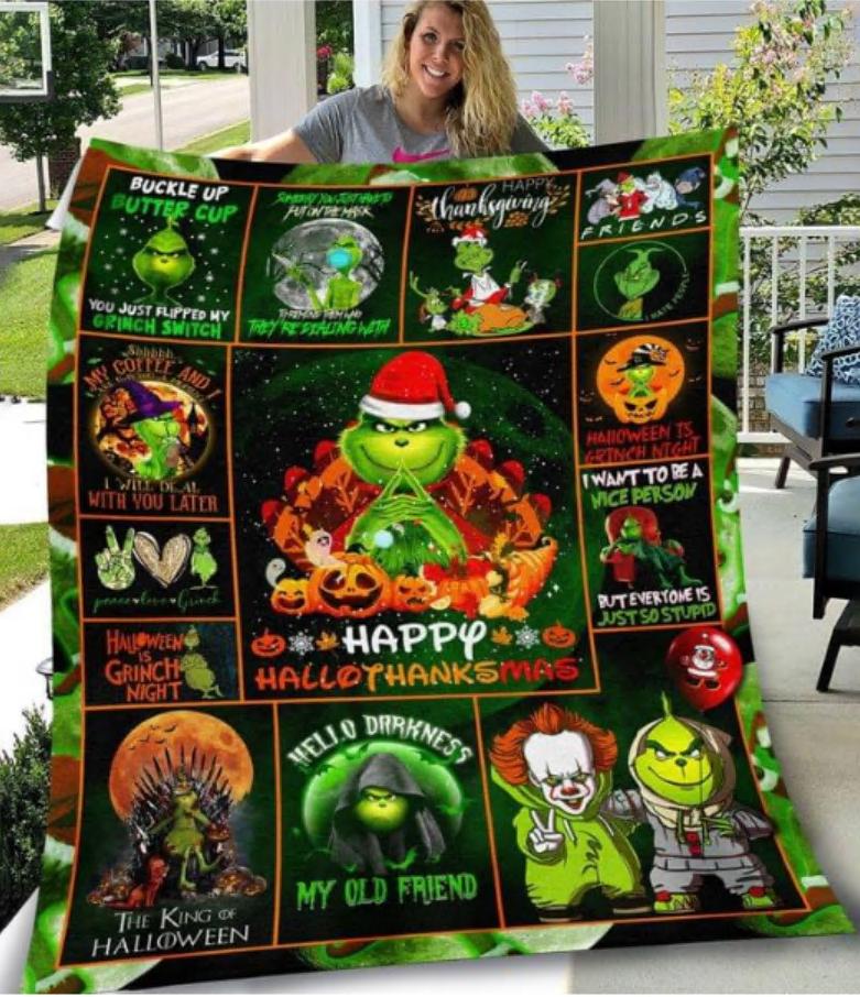 Grinch happy hallothanksmas quilt