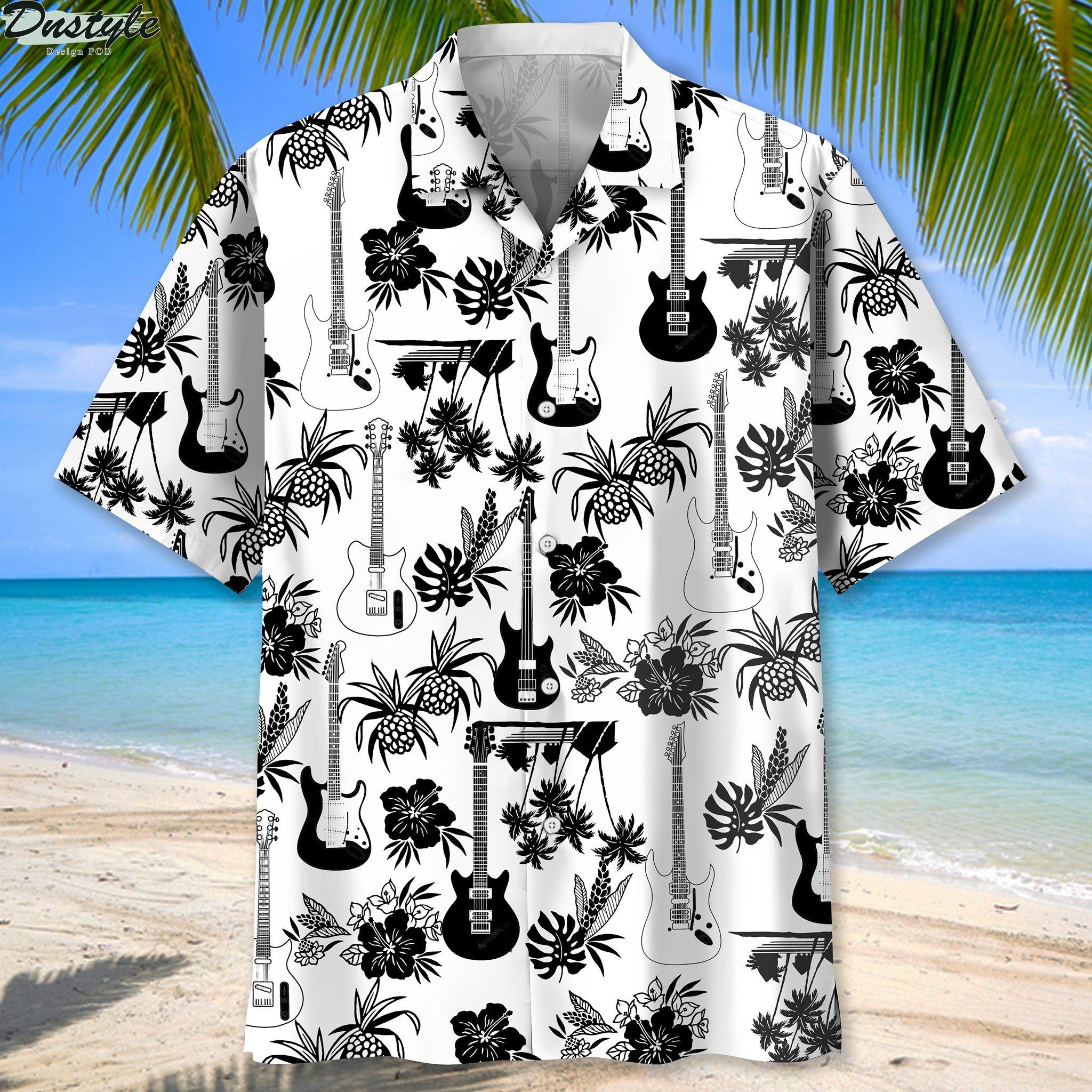 Guitar black and white pineapples hibiscus Hawaiian shirt