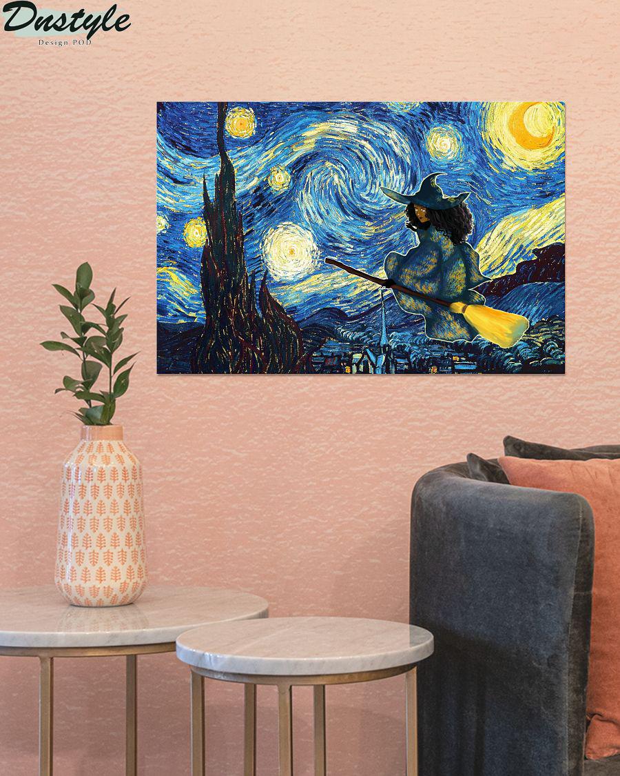 Halloween Black Witch Starry Night Van Gogh Poster 1