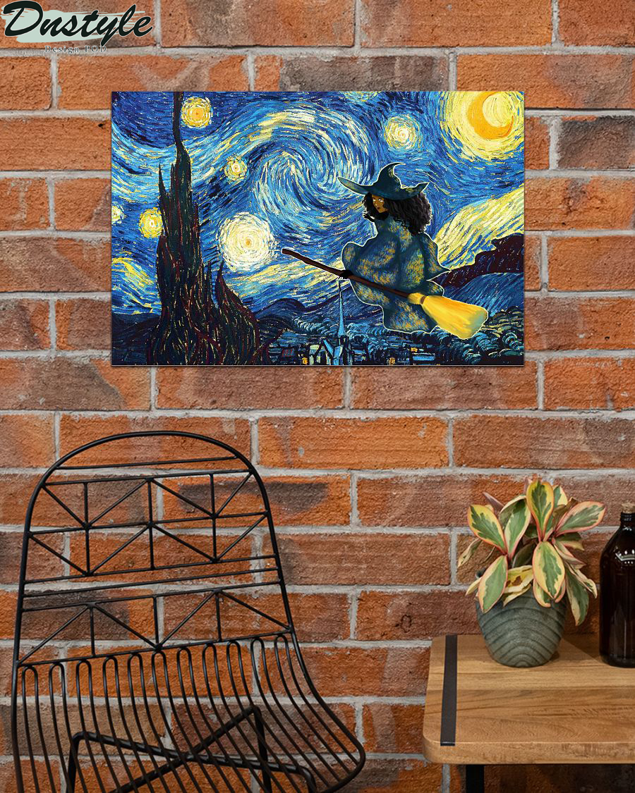 Halloween Black Witch Starry Night Van Gogh Poster 2