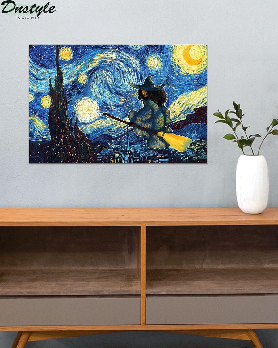 Halloween Black Witch Starry Night Van Gogh Poster 3
