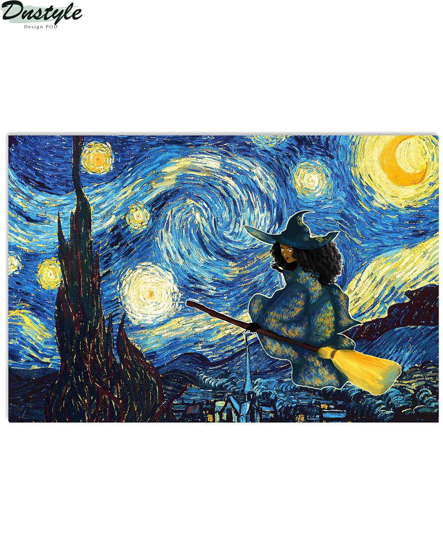 Halloween Black Witch Starry Night Van Gogh Poster