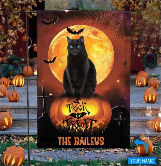 Halloween Black cat trick or treat flag