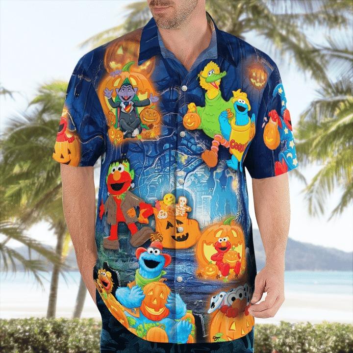 Halloween in sesame street hawaiian shirt 1