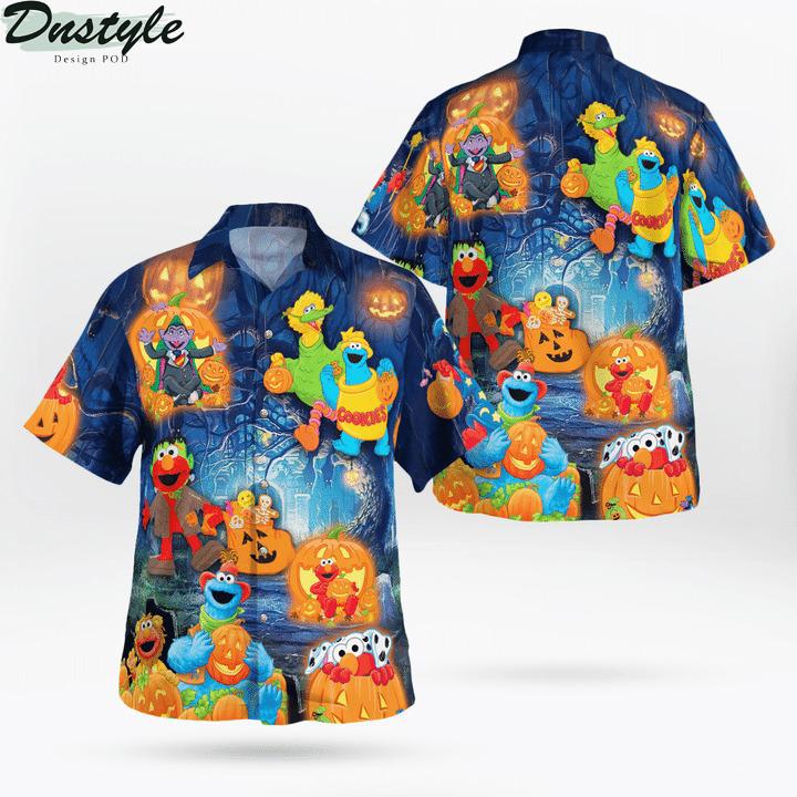 Halloween in sesame street hawaiian shirt