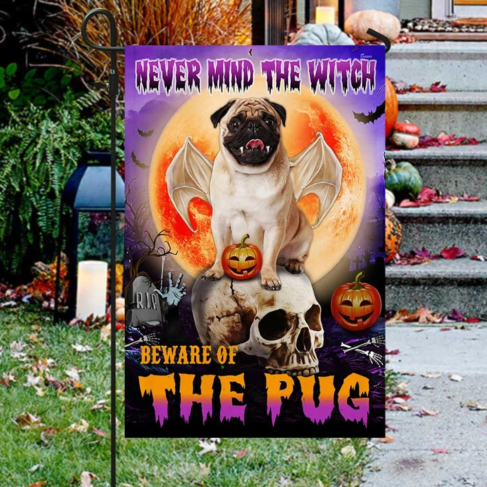 Halloween never mind the witch beware of the pug flag 1
