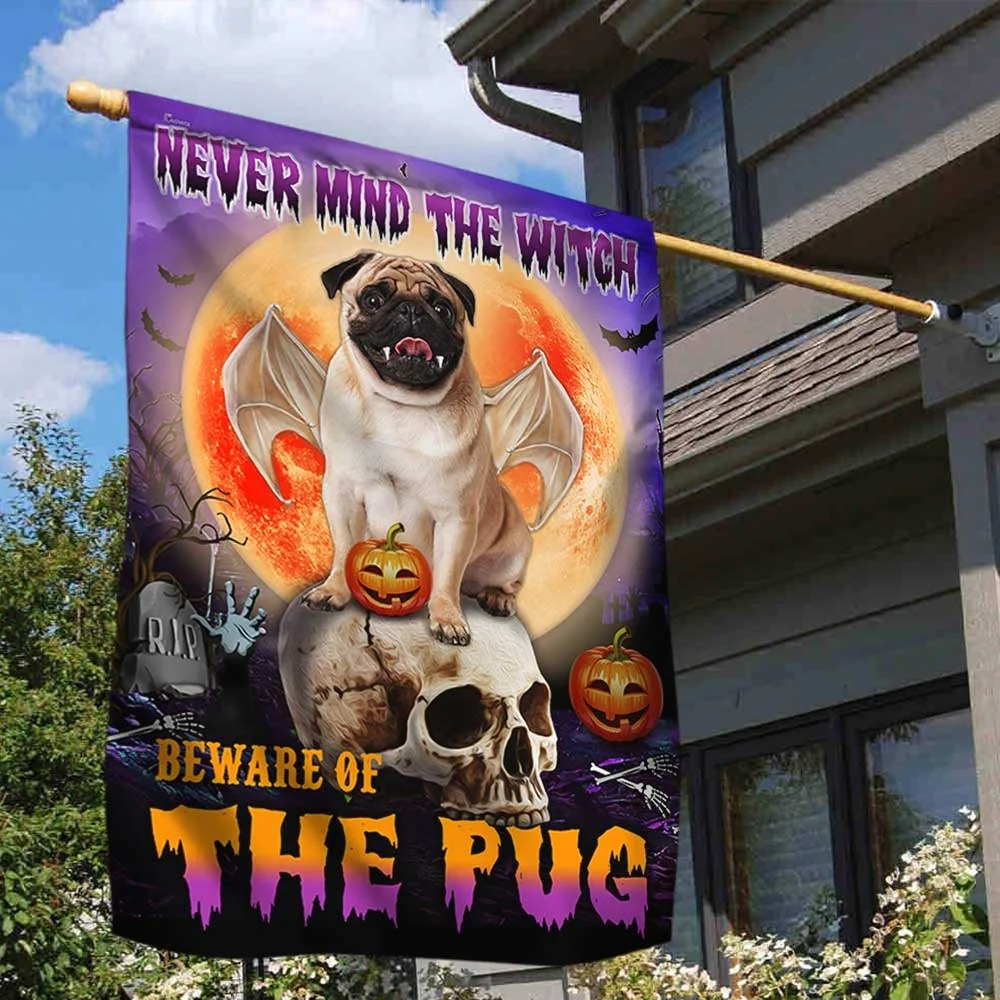 Halloween never mind the witch beware of the pug flag 2