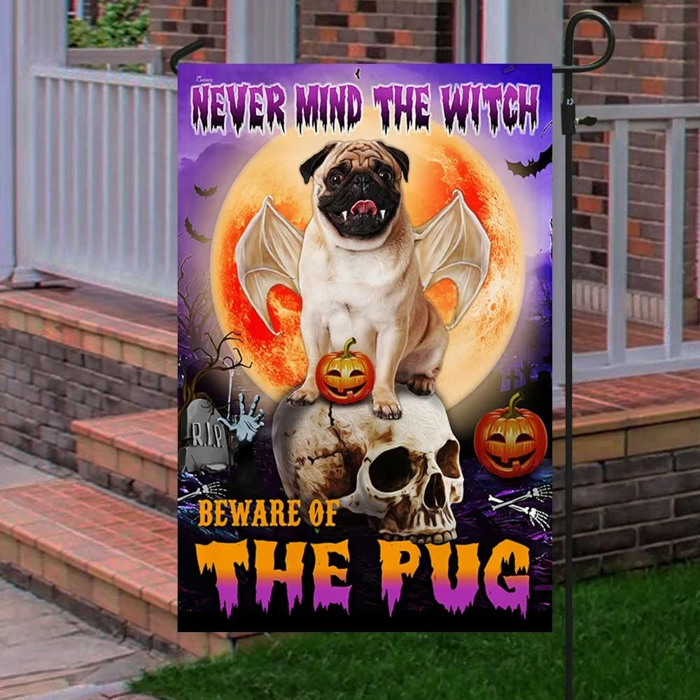 Halloween never mind the witch beware of the pug flag 3