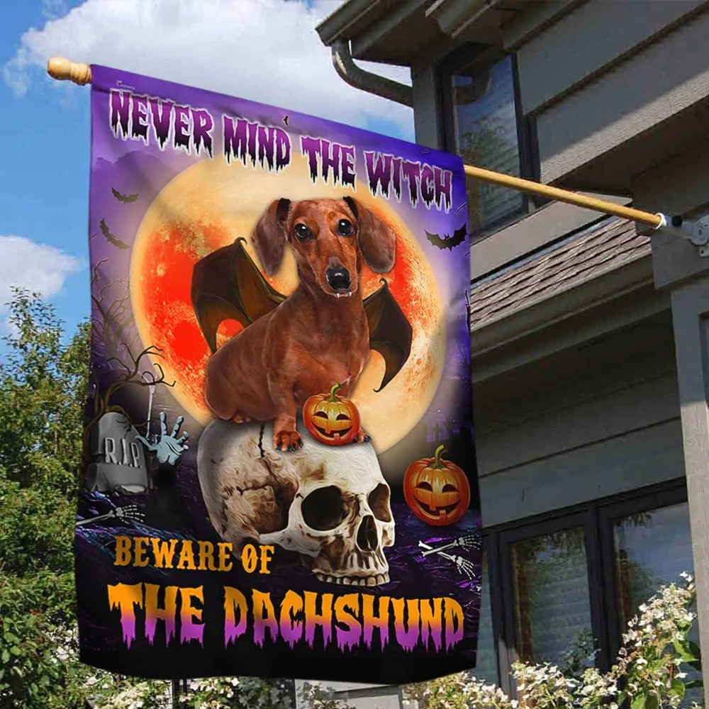 Halloween nevermind the witch beware of the dachshund flag 1