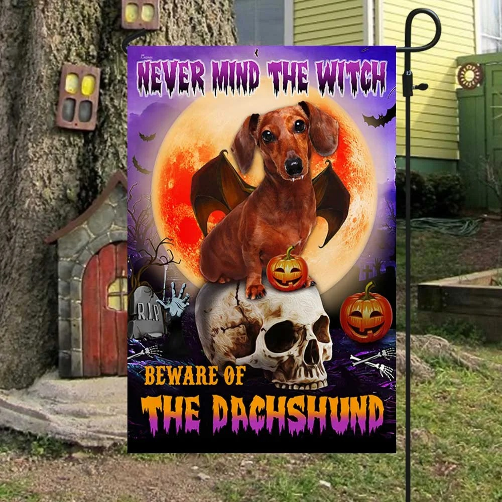 Halloween nevermind the witch beware of the dachshund flag 2