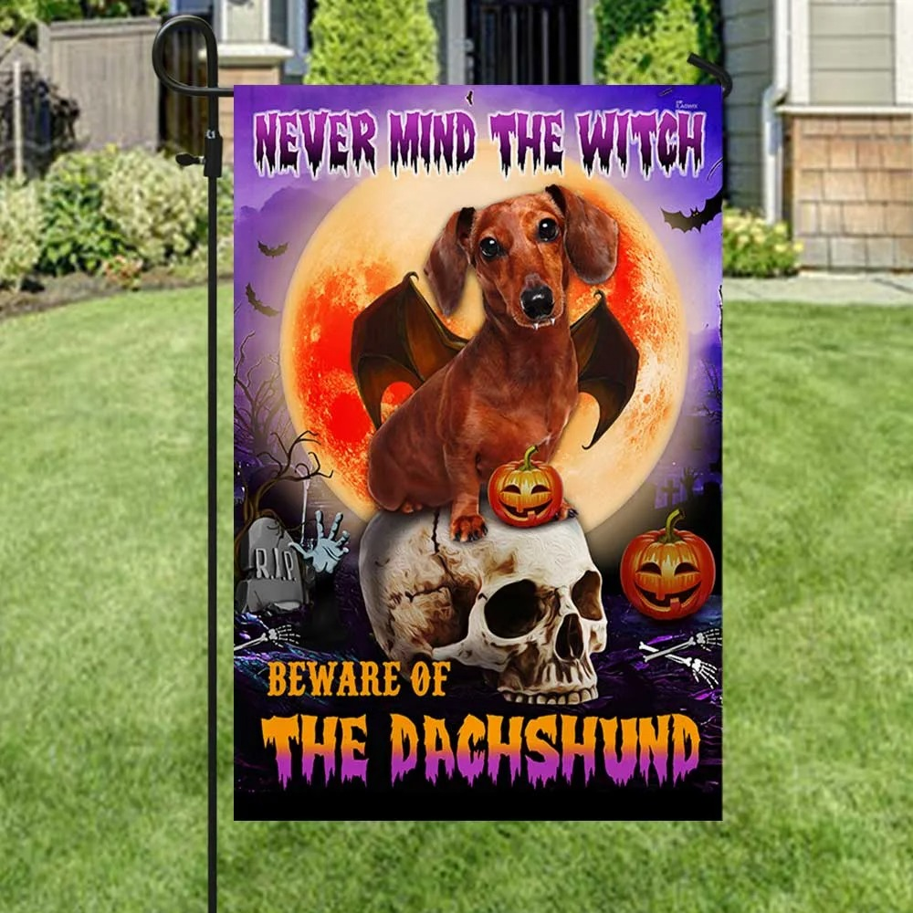 Halloween nevermind the witch beware of the dachshund flag 3