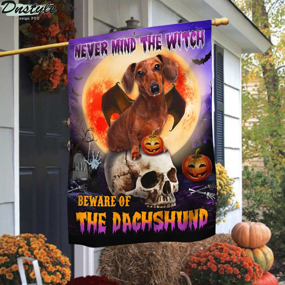 Halloween nevermind the witch beware of the dachshund flag