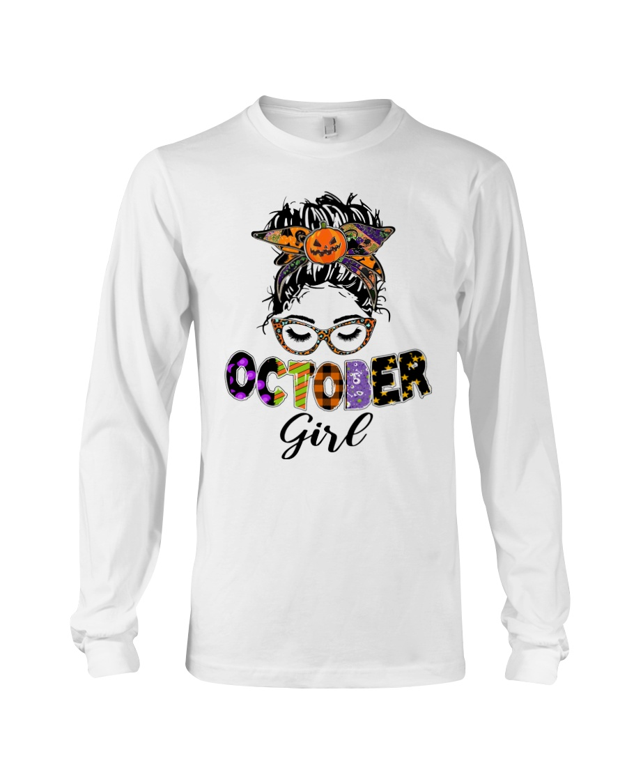 Halloween october girl messy bun long sleeve