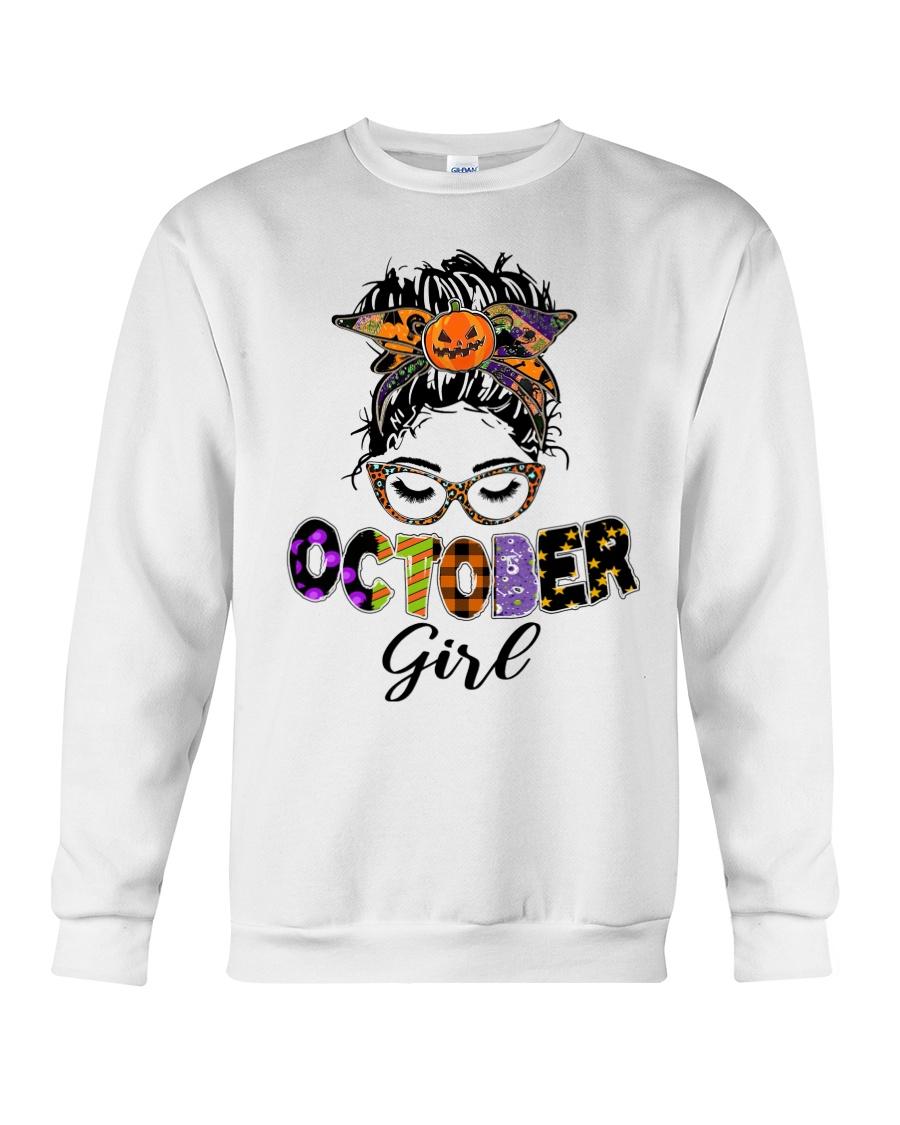 Halloween october girl messy bun sweatshirt