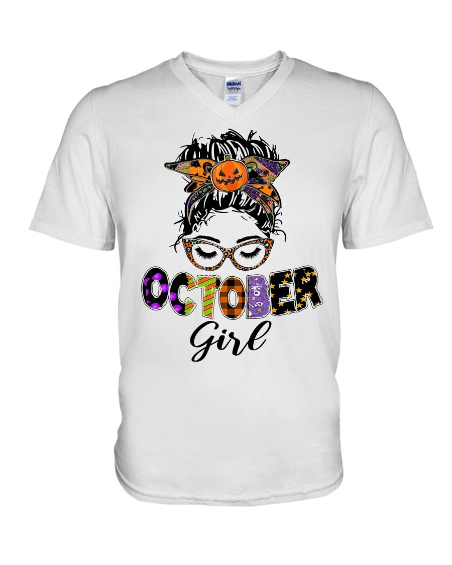 Halloween october girl messy bun v-neck