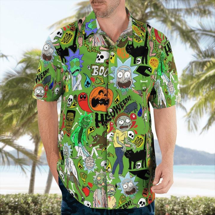 Halloween rick and morty pattern hawaiian shirt 1